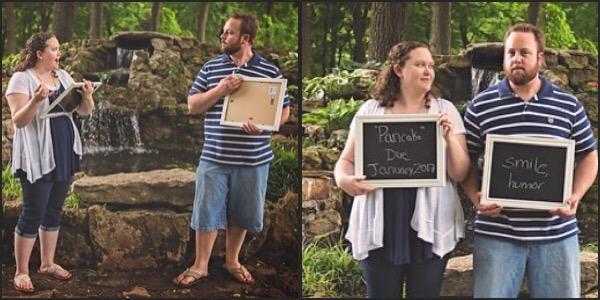 couple taking pregnancy announcement photos