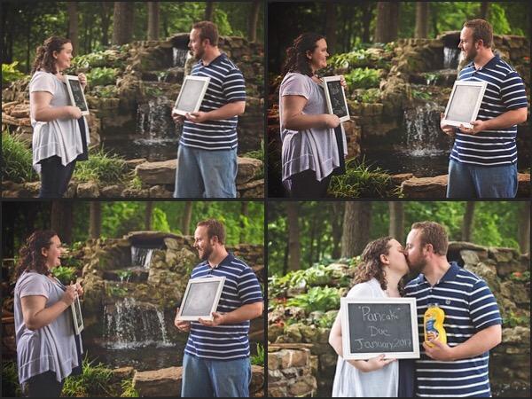 four panels of couple taking pregnancy announcement photos